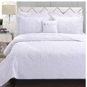 King Bed 4-piece Coverlet Set WHITE Paisley